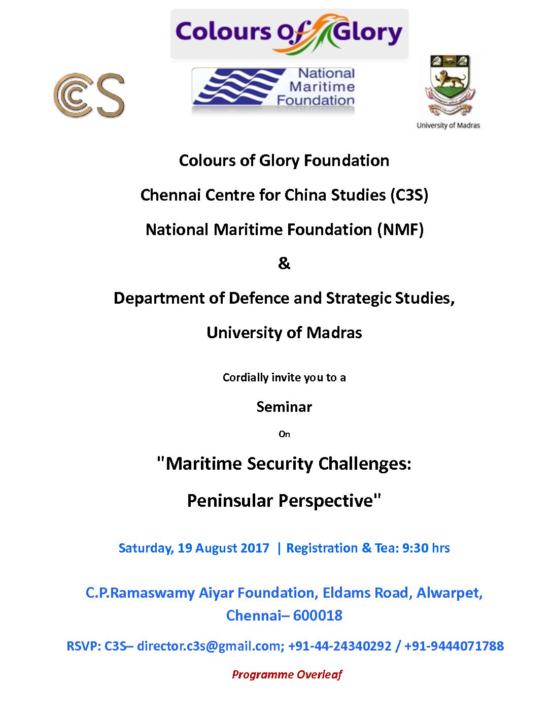 """Seminar On """"Maritime Security Challenges: Peninsular Perspective"""""""