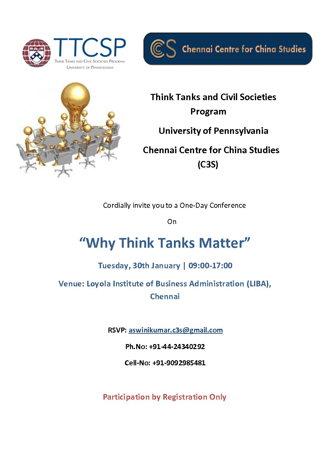 "Event Invitation- ""Why Think Tanks Matter""- 30 January 2018"
